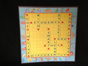 The message unscrabbled: One in five. Students with dyslexia are smart, they learn differently.